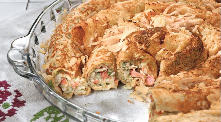 Рецепт Блинный пирог со шпинатом