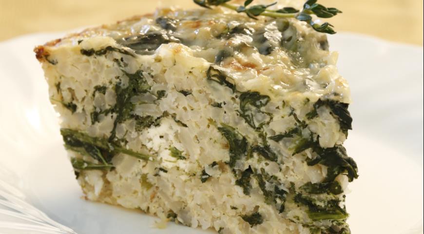 Рецепт Запеканка из коричневого риса со шпинатом и фетой