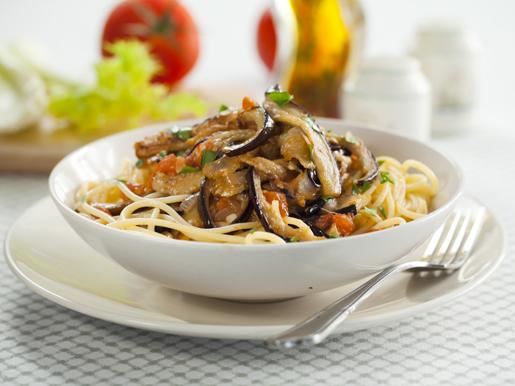 Рецепт Спагетти с кисло-сладкими баклажанами