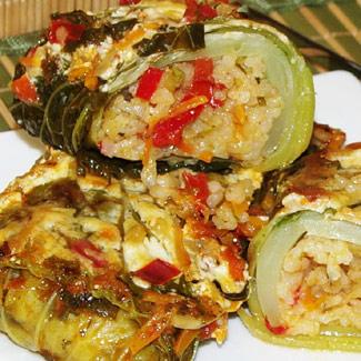 Рецепт Голубцы из савойской капусты с рисом и овощами