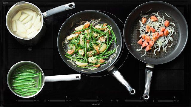 Рецепт Ассорти из зеленой фасоли, помидоров и картофеля