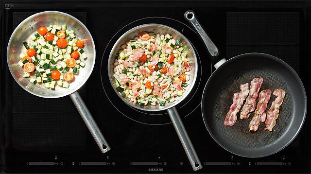 Рецепт Теплый салат из лимской фасоли с овощами и беконом