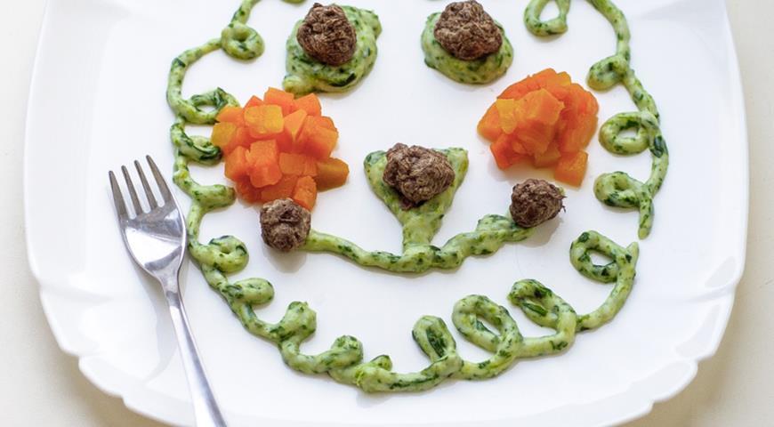 Рецепт Фрикадельки с овощами и шпинатным соусом
