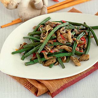 Рецепт Зеленая фасоль с вешенками