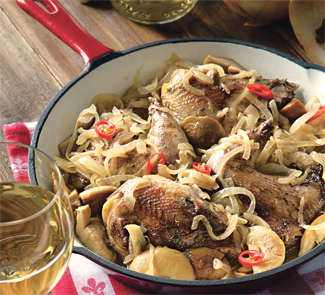 Рецепт Жареный фазан с грибами