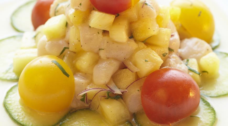 Рецепт Севиче из ананаса с морским гребешком