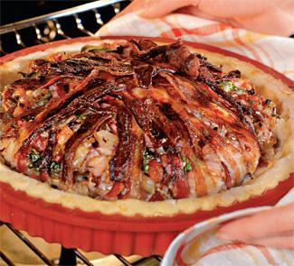 Рецепт Пирог из кролика со свекольными листьями и кедровыми орешками