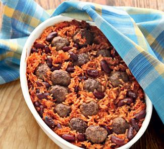 Рецепт Запеченная фасоль с рисом и фрикадельками