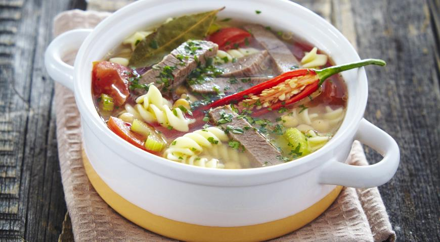 Рецепт Мясной суп с фузилли и нутом