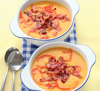 Рецепт Тыквенный суп с окороком и перцем