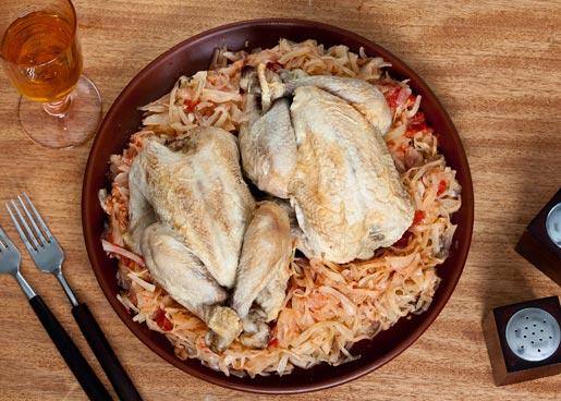 Рецепт Цыплята с тушеной капустой
