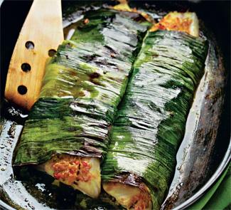 Пикша, запеченная в листьях лука-порея, пошаговый рецепт с фото