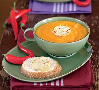 Рецепт Густой морковный суп с острым маслом