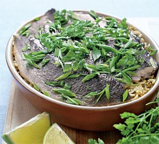 Рецепт Сибас с рисом и пастой из кинзы