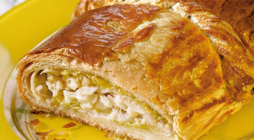 Рецепт Средиземноморский пирог с треской и луком-пореем