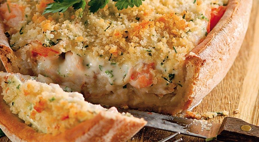 Слоеный пирог с креветками