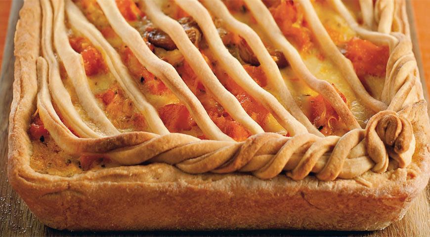 Рецепт Пирог с печеной тыквой, чесноком и сыром пекорино