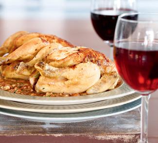 Рецепт Цыплята с соусом из помидоров и грецких орехов
