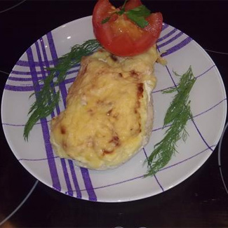 Рецепт Куриная грудка под персиком и сыром