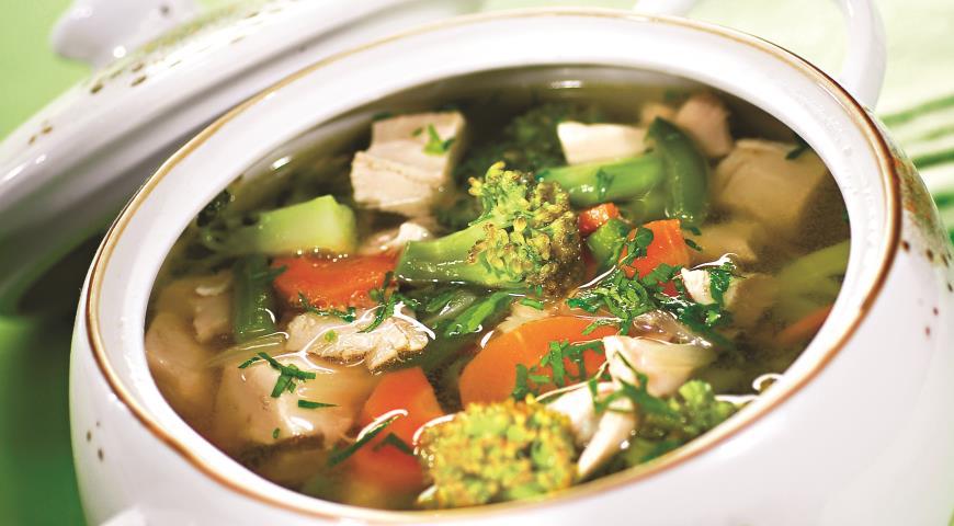 Рецепт Суп куриный с брокколи и зеленой фасолью