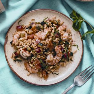 Рецепт Мятный салат с пшеницей и креветками