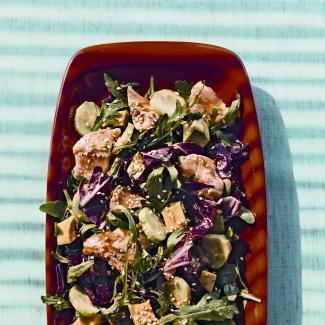 Рецепт Зеленый салат с лососем татаки