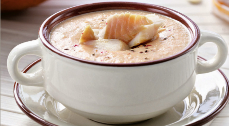 Рецепт Тыквенный суп из копченой рыбы