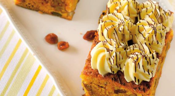 Тыквенные пирожные с сырно-шоколадным кремом