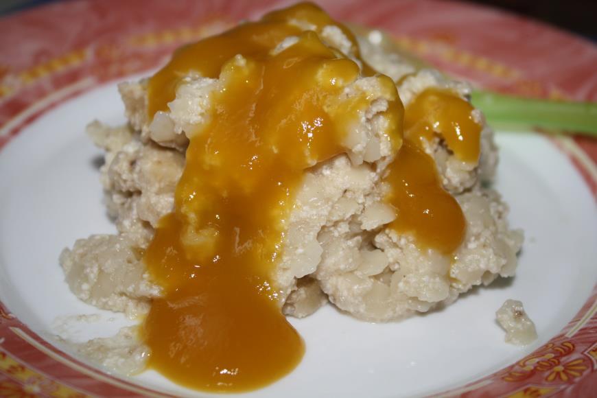 Рецепт Творожно-макаронная запеканка с бананом и соусом из манго