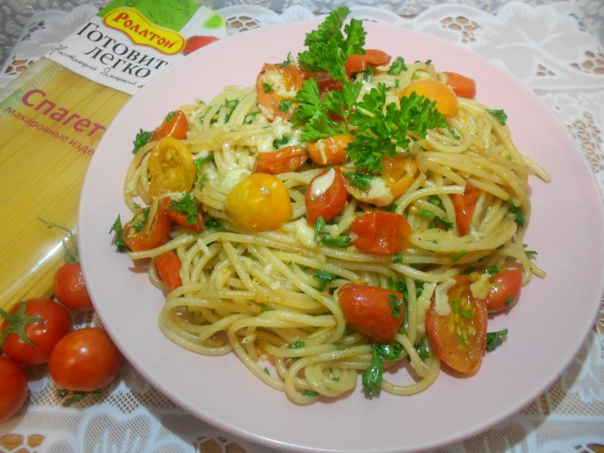 Рецепт Спагетти с помидорами-черри