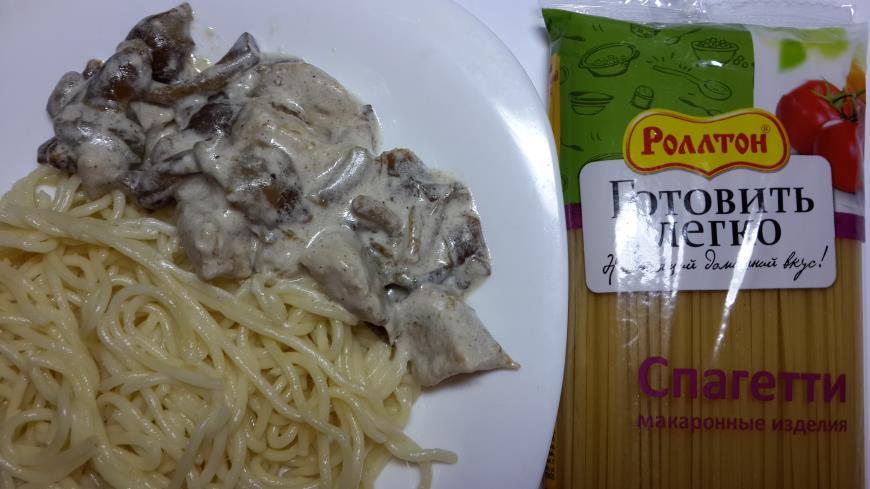 Рецепт Спагетти со свининой и грибами