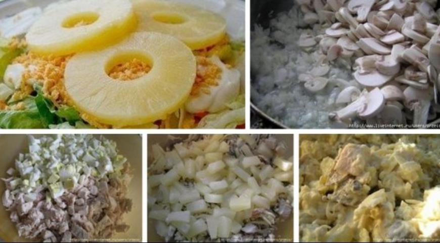 Рецепт Салат из курицы с ананасами, грибами и сыром