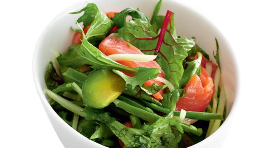 рецепт салата из морепродуктов с листьями салата