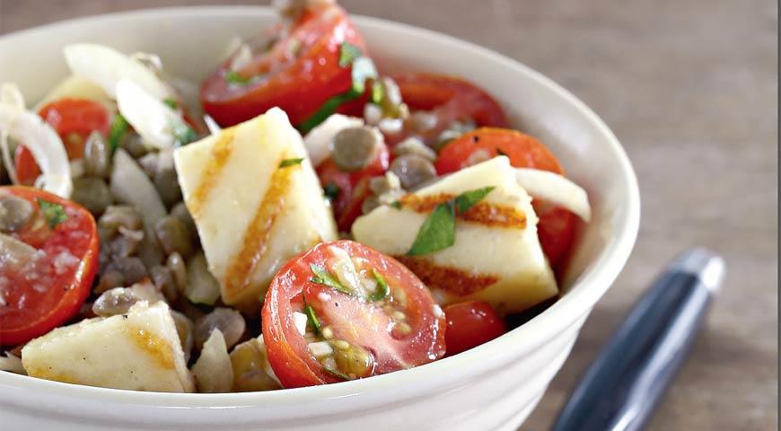 Рецепт Теплый салат из чечевицы с халуми