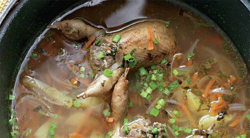 Рецепт Суп с фаршированными перепелками