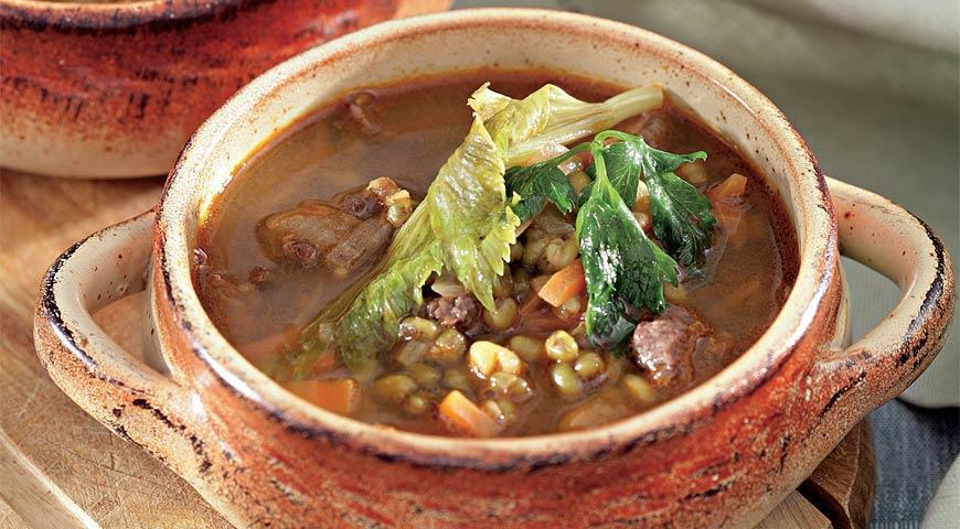 Рецепт Машевый суп в горшочке с поджаркой