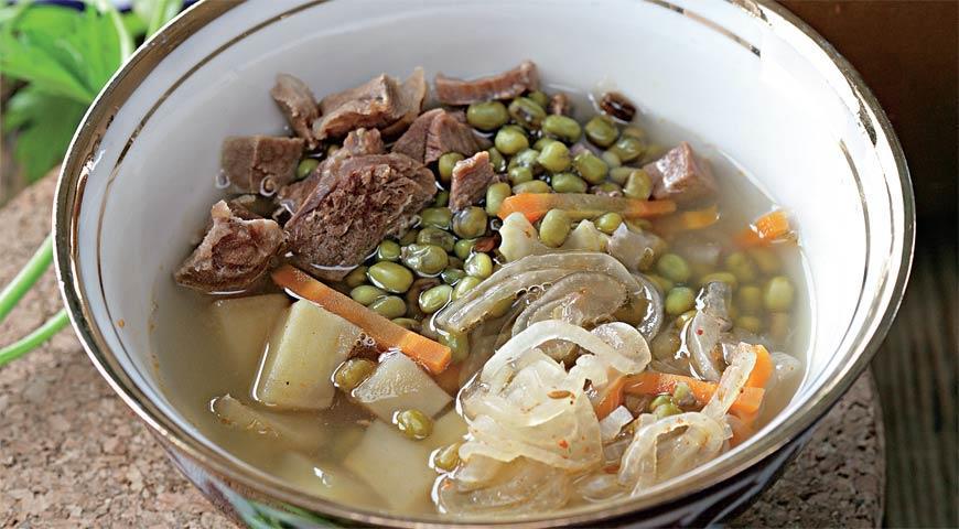 Рецепт Машевый суп в горшочке на прозрачном бульоне