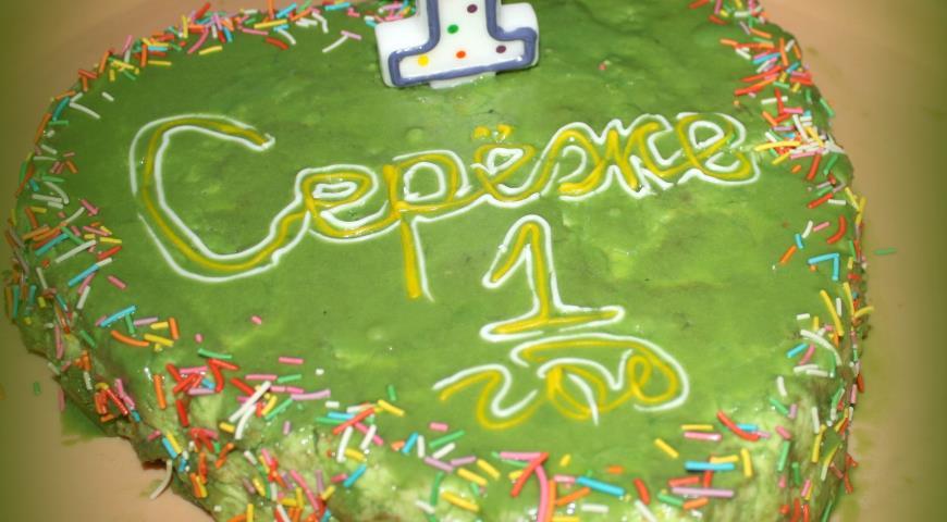 "Рецепт ""Зеленый"" торт для сына"