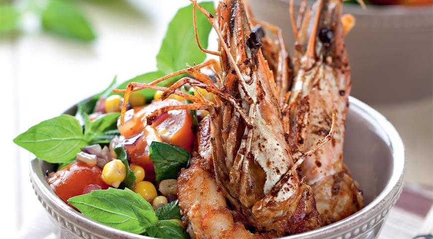 Рецепт Салат из кукурузы с креветками