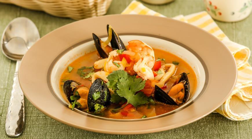 Рецепт Острый суп с морепродуктами