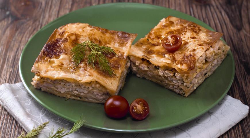 Рецепт Лазанья с индейкой и соусом песто