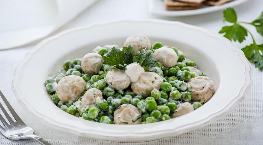 Рецепт Зеленый горошек с грибами
