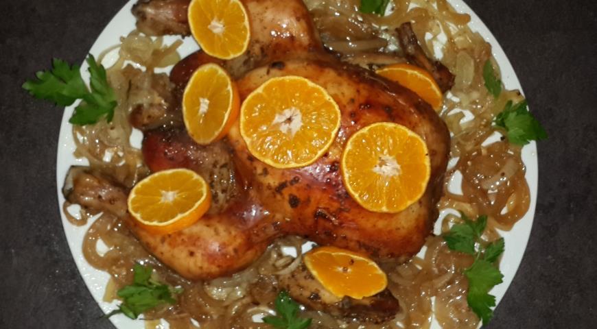 Рецепт Новогодняя курочка с мандаринами и ананасом
