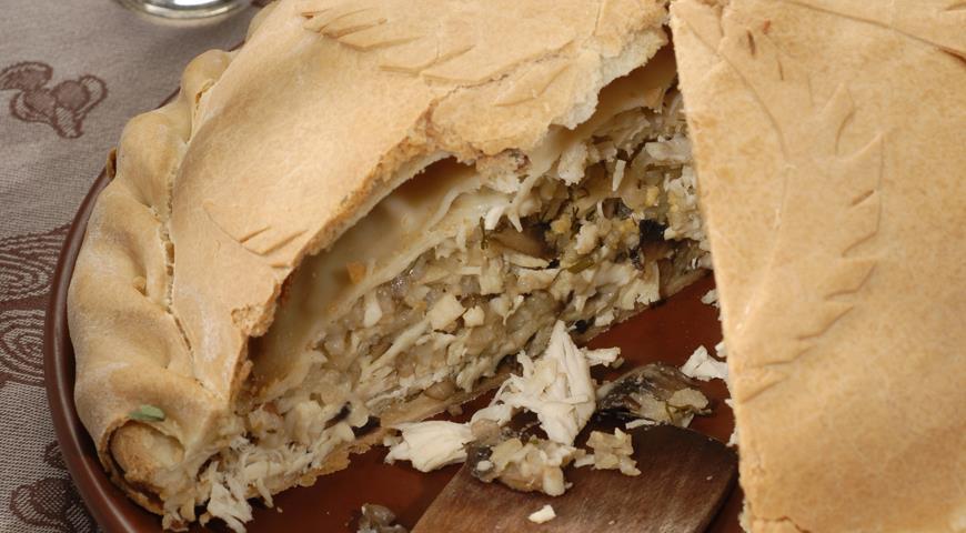 Рецепт Курник с рисом и грибами