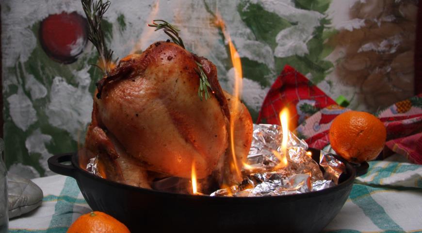 Рецепт Курица фламбе Пламенный привет