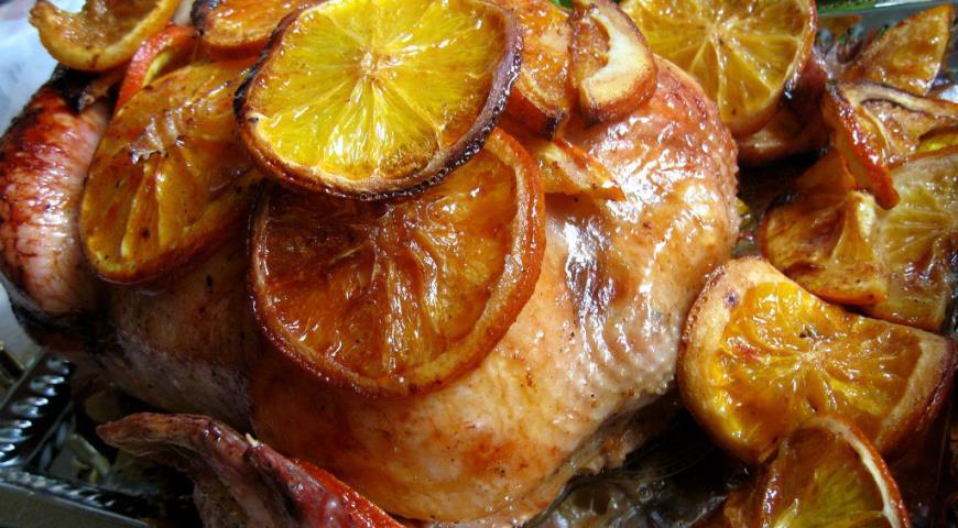 Рецепт Курица, запеченная в апельсинах