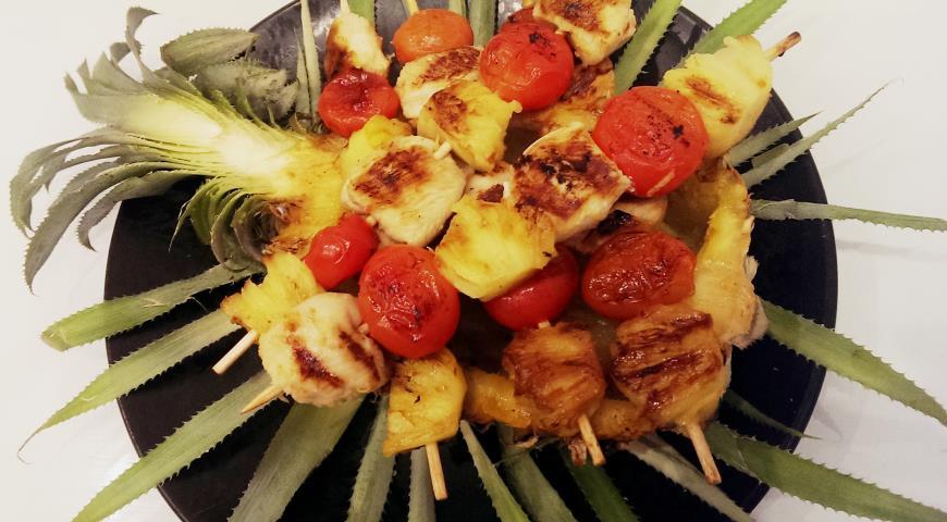 Рецепт Шашлычки из курицы в лимонном маринаде с ананасом