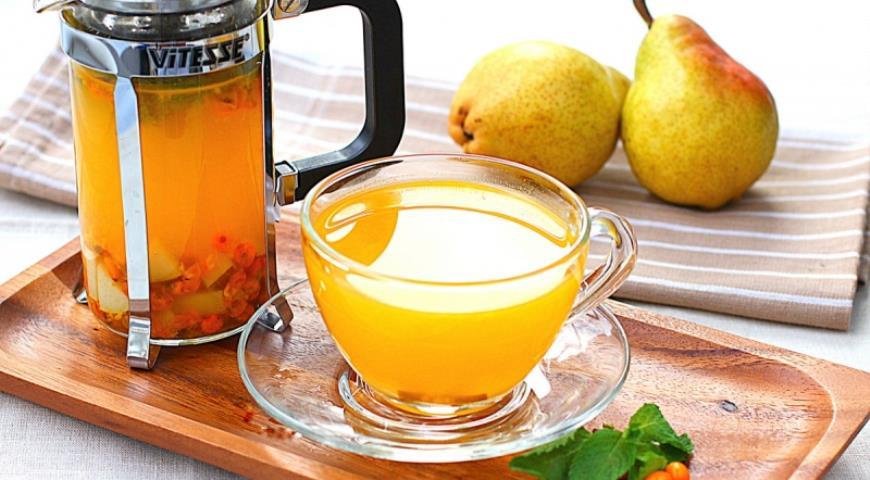 Рецепт Облепиховый чай с мятой и грушей