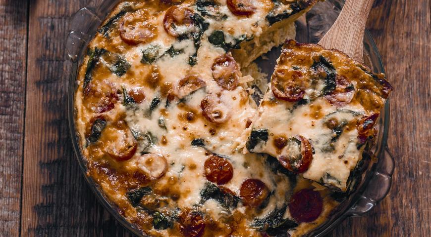 Рецепт Картофельный пирог с помидорами и шпинатом