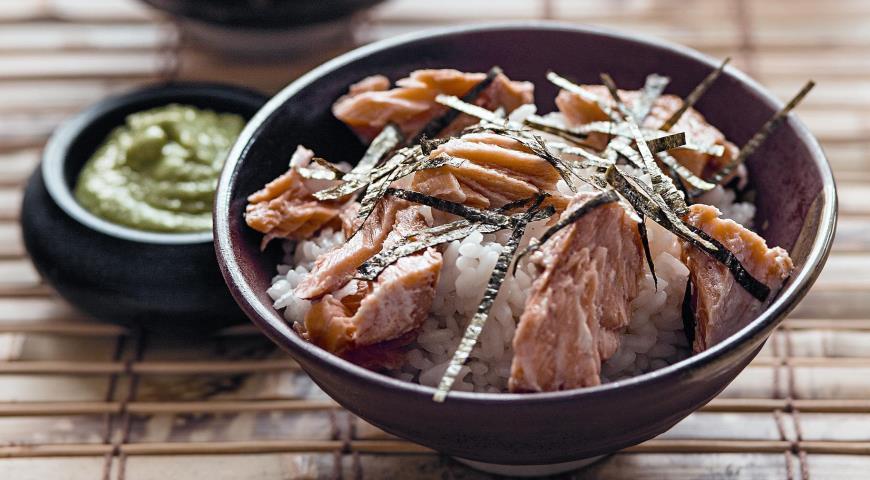 Рецепт Рис в зеленом чае с лососем